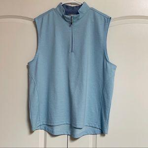 Peter Milner Light Blue 1/4 Quarter ZIP Vest XL